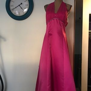 Pink prom dress by Jessica size 10 halter neck tie